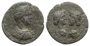 obverse: Caracalla (198-217). Cilicia, Seleucia. Æ (24mm, 8.37g, 12h). Laureate and draped bust r. R/ Diademed and draped bust of Artemis, quiver across shoulder and laureate and draped bust of Apollo, vis-à-vis. SNG Levante 743. Good Fine