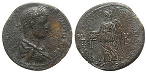 obverse: Caracalla (198-217). Cilicia, Tarsus. Æ (33mm, 16.25g, 12h). Laureate, draped and cuirassed bust r. R/ Nike advancing l., holding wreath and palm; Γ-B flanking. SNG BnF 1486; SNG Levante -. Rare, near VF