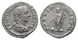 obverse: Geta (Caesar, 198-209). AR Denarius (19mm, 3.33g, 6h). Rome, 205-8. Bareheaded, draped and cuirassed bust r. R/ Providentia standing l., holding wand and sceptre; globe on ground to l. RIC IV 51; RSC 170. Small flan-crack, Good VF