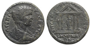 obverse: Geta (Caesar, 198-209). Ionia, Smyrna. Æ (25mm, 8.42g, 6h). Bare-headed, draped and cuirassed bust r. R/ Tetrastyle temple enclosing Tyche standing facing, holding patera and cornucopia. BMC 425. Rare, near VF
