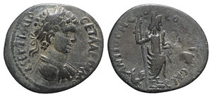 obverse: Geta (209-212). Pisidia, Antioch. Æ (24mm, 5.21g, 6h). Laureate, draped and cuirassed bust r. R/ Mên standing r., with foot on bucranium, holding sceptre and crowning Victory; at feet to l., cock standing l. SNG BnF –. Rare, VF