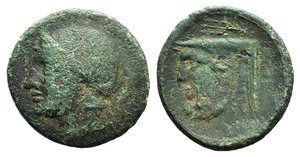 obverse: Akarnania, Federal Coinage, c. 300-167 BC. Æ (22mm, 5.23g, 9h). Helmeted head of Athena l. R/ Head of Achelous l.; trident above. SNG Copenhagen 423-4. Green patina, Good Fine