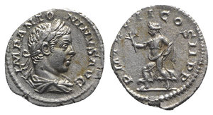 obverse: Elagabalus (218-222). AR Denarius (20mm, 3.38g, 11h). Rome, AD 219. Laureate and draped bust r. R/ Pax advancing l., holding branch and sceptre. RIC IV 21; RSC 143. Toned, Good VF