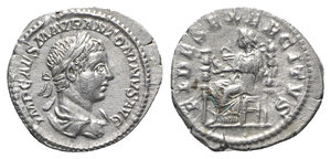 obverse: Elagabalus (218-222). AR Denarius (20mm, 2.94g, 6h). Rome, 218-9. Laureate, draped and cuirassed bust r. R/ Fides seated l., holding eagle and signum; signum to l. RIC IV 71; RSC 32. Toned, Good VF