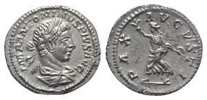 obverse: Elagabalus (218-222). AR Denarius (20mm, 3.17g, 12h). Rome, 219-220. Laureate and draped bust r. R/ Pax advancing l., holding branch and sceptre. RIC IV 125; RSC 120. Good VF