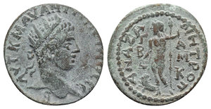 obverse: Elagabalus (218-222). Cilicia, Anazarbus. Æ (21.5mm, 5.47g, 6h). Radiate head r. R/ Dionysos standing l., holding long thyrsos and kantharos over panther. RPC VI online 7314 (temporary); SNG Levante 1431. Green patina, VF
