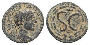 obverse: Elagabalus (218-222). Seleucis and Pieria, Antioch. Æ (18mm, 4.68g, 12h). Laureate head r. R/ Large SC, Δ above, Є below; all within laurel wreath. McAlee 777c. Green patina, Good VF