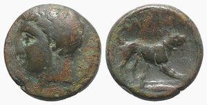 obverse: Akarnania, Argos Amphilochicon 330-300 BC. Æ (18mm, 6.29g, 11h). Young male head l. R/ Dog standing r.; petasos(?) in exergue. BMC 5. Imhoof-Blumer, A. 93, 46. Rare, Good Fine