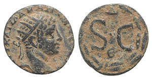 obverse: Elagabalus (218-222). Seleucis and Pieria, Antioch. Æ (16mm, 3.27g, 1h). Radiate head r. R/ Large SC; Δ above, Є below; all within wreath. Butcher 468. Brown patina, VF