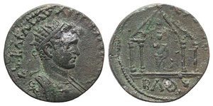 obverse: Elagabalus (218-222), Phoenicia, Byblus. Æ (25mm, 10.77g, 6h). Radiate and cuirassed bust r. R/ Astarte seated facing, holding sceptre, within tetrastyle temple with pyramidal roof. SNG Copenhagen 146; BMC 55-60. Rare, small metal flaw on obv., otherwise VF - Good VF