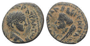 obverse: Elagabalus (218-222). Mesopotamia, Edessa. Æ (17mm, 2.88g, 12h). Laureate head r. R/ Veiled and turreted bust of Tyche l. Cf. SNG Copenhagen 214. Brown patina, VF
