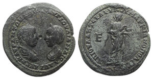 obverse: Elagabalus and Julia Maesa (218-222). Moesia Inferior, Marcianopolis. Æ Pentassarion (28.5mm, 11.51g, 6h). Laureate, draped and cuirassed bust of Elagabalus r. vis à vis diadmed and draped bust l. of Maesa. R/ Hygieia standing r., feeding serpent held in arms; E (denomination) to l. AMNG 958; Varbanov 1633. Green patina, near VF