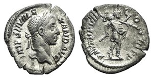 obverse: Severus Alexander (222-235). AR Denarius (19mm, 2.31g, 7h). Rome, 227. Laureate and draped bust r. r/ Mars advancing r., carrying spear and trophy. RIC IV 61; RSC 305. Good VF