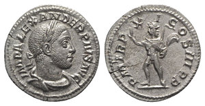 obverse: Severus Alexander (222-235). AR Denarius (19mm, 2.63g, 6h). Rome, AD 232. Laureate, draped and cuirassed bust r. R/ Sol standing l., raising hand and holding whip. RIC IV 112; RSC 427. Flan-crack, VF