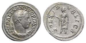 obverse: Severus Alexander (222-235). AR Denarius (21mm, 2.95g, 6h). Rome, 231-5. Laureate, draped and cuirassed bust r. R/ Spes walking l., holding flower and raising hem of skirt. RIC IV 254; RSC 546. Good VF