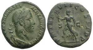 obverse: Severus Alexander (222-235). Æ Sestertius (29mm, 19.57g, 1h). Rome, AD 228. Laureate and draped bust r. R/ Pax advancing l., holding branch and sceptre. RIC IV 479. Green patina, near VF