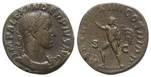 obverse: Severus Alexander (222-235). Æ Sestertius (29mm, 17.08g, 12h). Rome, AD 235. Laureate, draped and cuirassed bust r. R/ Sol advancing l., raising hand and holding whip. RIC IV 541. Brown patina, near VF