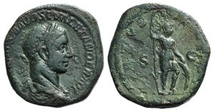 obverse: Severus Alexander (222-235). Æ Sestertius (30mm, 23.05g, 12h). Rome, AD 225. Laureate and draped bust r. R/ Virtus standing r., holding spear in r. hand and resting l. on shield set on ground. RIC IV 623. Green patina, Good Fine