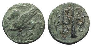 obverse: Corinth, c. 303-287 BC. Æ (11mm, 2.10g, 7h). Pegasos flying l. R/ Trident-head upward; aphlaston to l. BCD Corinth 272-3. Green patina, VF