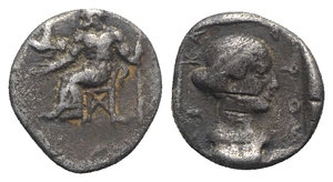 obverse: Arkadian League, Tegea, c. 465-460 BC. AR Hemidrachm (14mm, 2.77g, 7h). Zeus Lykaios seated l., holding sceptre; eagle flying l. from his hand. R/ Head of Kallisto r., wearing tainia, within incuse square. Williams 93; BCD Peloponnesos 1711; HGC 5, 1034. Rare, Good Fine