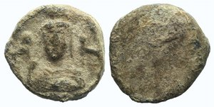 obverse: Asia Minor, Uncertain, c. 2nd-3rd century AD. PB Seal (29mm, 39.07g). Facing bust of Artemis (?) between two stags. R/ Blank. VF