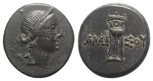 obverse: Pontos, Amisos, c. 125-100 BC. Æ (20mm, 8.19g, 11h). Bust of Artemis r., bow and quiver over shoulder. R/ Tripod. SNG BM Black Sea 1139-40; HGC 7, 240. Brown patina, about EF