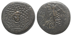 obverse: Pontos, Amisos, time of Mithradates VI, c. 85-65 BC. Æ (19.5mm, 7.95g, 12h). Aegis with Gorgoneion in centre. R/ Nike advancing r. holding wreath and palm; monogram in r. field. Cf. SNG BM Black Sea 1183; cf. SNG Stancomb 687; HGC 7, 242. Dark brown patina, Good VF