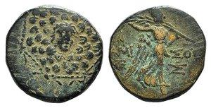 obverse: Pontos, Amisos, time of Mithradates VI, c. 85-65 BC. Æ (19mm, 6.70g, 12h). Aegis. R/ Nike advancing r., holding palm; monograms flanking. SNG Copenhagen 167-172. Green patina, VF