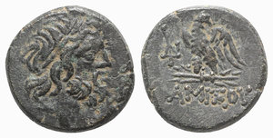 obverse: Pontos, Amisos, time of Mithradates VI, c. 85-65 BC. Æ (19mm, 7.68g, 1h). Laureate head of Zeus r. R/ Eagle standing l., head r., on thunderbolt; monogram to l. SNG BM Black Sea 1220; HGC 7, 24. Green patina, Good VF