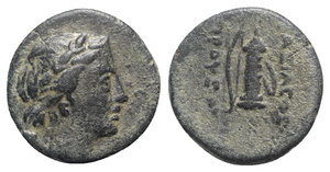 obverse: Kings of Bithynia, Prusias I (c. 230-182 BC). Æ (18mm, 4.93g, 12h). Laureate head of Apollo r., quiver over shoulder. R/ Bow and quiver. RG 17; SNG Copenhagen 628-9; SNG von Aulock 250. Green patina, VF