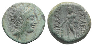 obverse: Kings of Bithynia, Prusias II (182-149 BC). Æ (16mm, 3.85g, 12h). Head of Prusias r., wearing a winged diadem. R/ Herakles standing l., holding club in r. hand, lion s skin in l.; monogram to inner r. RG 25; HGC 7, 634. Green patina, about VF