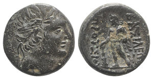 obverse: Kings of Bithynia, Prusias II (182-149 BC). Æ (16mm, 3.64g, 12h). Head of Prusias r., wearing a winged diadem. R/ Herakles standing l., holding club in r. hand, lion s skin in l.; monogram to inner r. RG 25; HGC 7, 634. Near VF