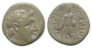 obverse: Kings of Bithynia, Prusias II (182-149 BC). Æ (16mm, 3.68g, 12h). Head of Prusias r., wearing a winged diadem. R/ Herakles standing l., holding club in r. hand, lion s skin in l.; monogram to inner r. RG 25; HGC 7, 634. Near VF