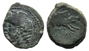 obverse: Northern Apulia, Arpi, c. 325-275 BC. Æ (15mm, 3.11g, 12h). Laureate head of Zeus l.; thunderbolt behind. R/ Forepart of boar r., spear above. HNItaly 643. Green patina, near VF