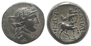 obverse: Kings of Bithynia, Prusias II (182-149 BC). Æ (21mm, 6.80g, 12h). Wreathed head of Dionysos r. R/ Centaur advancing r., playing lyre. RG 26; SNG Copenhagen 635; HGC 7, 629. Green patina, Good VF - near EF