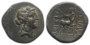 obverse: Kings of Bithynia, Prusias II (182-149 BC). Æ (22mm, 6.25g, 12h). Wreathed head of Dionysos r. R/ Centaur advancing r., playing lyre. RG 26; SNG Copenhagen 635; HGC 7, 629. Green patina, Good VF