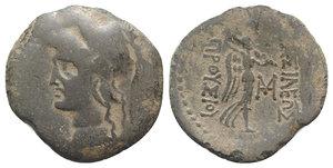 obverse: Kings of Bithynia, Prusias II (182-149 BC). Æ (30mm, 8.70g, 12h). Head of Athena l., wearing crested Corinthian helmet. R/ Nike advancing r., holding trophy; monogram to inner r. RG 28; SNG Copenhagen 642; HGC 7, 626. Good Fine / near VF