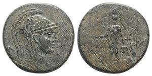 obverse: Paphlagonia, Amastris, c. 105-85 BC. Æ (30mm, 19.25g, 12h). Head of Athena r., wearing helmet decorated with griffin. R/ Perseus standing facing, holding harpa and head of Medusa; at feet, body of Medusa. SNG BM Black Sea 1312; SNG Stancomb 734; HGC 7, 357. Green patina, near VF