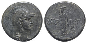 obverse: Paphlagonia, Amastris, c. 105-85 BC. Æ (29mm, 18.72g, 12h). Head of Athena r., wearing helmet decorated with griffin. R/ Perseus standing facing, holding harpa and head of Medusa; at feet, body of Medusa. SNG BM Black Sea 1312; SNG Stancomb 734; HGC 7, 357. Green patina, near VF