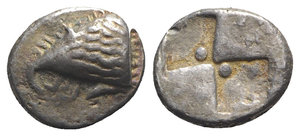 obverse: Paphlagonia, Sinope, c. 490-425 BC. AR Drachm (16mm, 5.67g). Head of sea-eagle l.; below, dolphin l. R/ Quadripartite incuse square with two opposing quarters filled, the others stippled and with pellet. SNG BM Black Sea 1359-63; SNG Copenhagen 272; HGC 7, 384. Toned, VF - Good VF