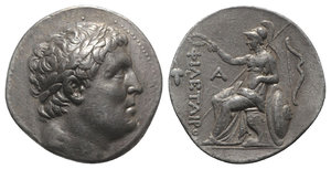 obverse: Kings of Pergamon, Eumenes I (263-241 BC). AR Tetradrachm (29mm, 17.07g, 12h). In the name of Philetairos. Pergamon, c. 255/0-241 BC. Laureate head of Philetairos r. R/ Athena enthroned l., elbow resting on shield to r., crowning dynastic name; transverse spear in background, grape bunch to outer l., monogram to inner l., bow to r. Westermark Group V; SNG BnF 1618. Toned, VF - Good VF