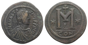 obverse: Anastasius I (491-518). Æ 40 Nummi (36mm, 17.92g, 6h). Constantinople, 498-518. Diademed, draped and cuirassed bust r. R/ Large M; cross above, star to l.; Δ/CON. MIBE 35; DOC 23f; Sear 19. VF