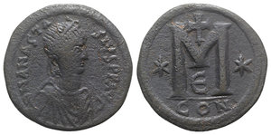 obverse: Anastasius I (491-518). Æ 40 Nummi (34mm, 17.25g, 12h). Constantinople, 498-518. Diademed, draped and cuirassed bust r. R/ Large M; cross above, star to l.; E/CON. MIBE 35; DOC 23i; Sear 19. Near VF
