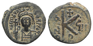obverse: Maurice Tiberius (582-602). Æ 20 Nummi (22mm, 4.61g, 1h). Constantinople, year 8 (589/90). Diademed, helmeted and cuirassed facing bust, holding globus cruciger. R/ Large K; cross above, date across fields; B below. MIBE 70D; DOC 53b; Sear 497. Green patina, about VF