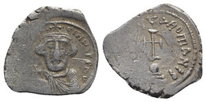 obverse: Constans II (641-668). AR Hexagram (26mm, 6.48g, 7h). Constantinople, 650-654. Crowned and draped bust facing, holding globus cruciger. R/ Cross potent set upon globe set upon three steps. MIB 144; DOC 50; Sear 991. Area of flatness, hairlines, near VF