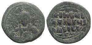 obverse: Anonymous, time of Basil II and Constantine VIII, c. 1020-1028. Æ 40 Nummi (32mm, 14.84g, 6h). Uncertain (Thessalonica?) mint. Facing bust of Christ Pantokrator. R/ Legend in four lines. DOC Class A3; Sear 1818. Green patina, near VF