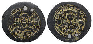 obverse: Michael VII Ducas (1071-1078). Fourrèe Histamenon Nomisma (27mm, 3.63g, 6h). Constantinople, 1071-1078. Facing bust of Christ Pantokrator. R/ Crowned facing bust of Michael, holding labarum with pellet on shaft and globus cruciger. Cf. DOC 2d, Sear 1868. Two holes, otherwise near VF
