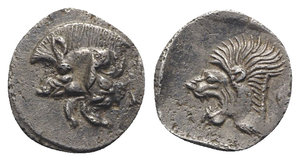 obverse: Mysia, Kyzikos, c. 450-400 BC. AR Obol (10mm, 0.82g, 3h). Forepart of boar l.; to r., tunny upward. R/ Head of roaring lion l. within incuse square. Von Fritze II 9; SNG BnF 361–6. Good VF