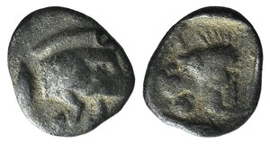 obverse: Mysia, Kyzikos, c. 450-400 BC. AR Hemiobol (6mm, 0.25g, 12h). Forepart of boar r.; tunny to l. R/ Head of roaring lion l., retrograde K to l.; all within incuse square. Von Fritze II 16; SNG BnF 392. Near VF