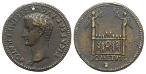 "D/ Tiberius (14-37). Æ Cast ""Sestertius"" (34mm, 22.64g, 6h). Paduan type. Later cast after Giovanni da Cavino, 1500-1570. Bare head l., slight beard. R/ Great altar of Lugdunum. Johnson & Martini 1302-11; Klawans 2. Pierced, Good VF"